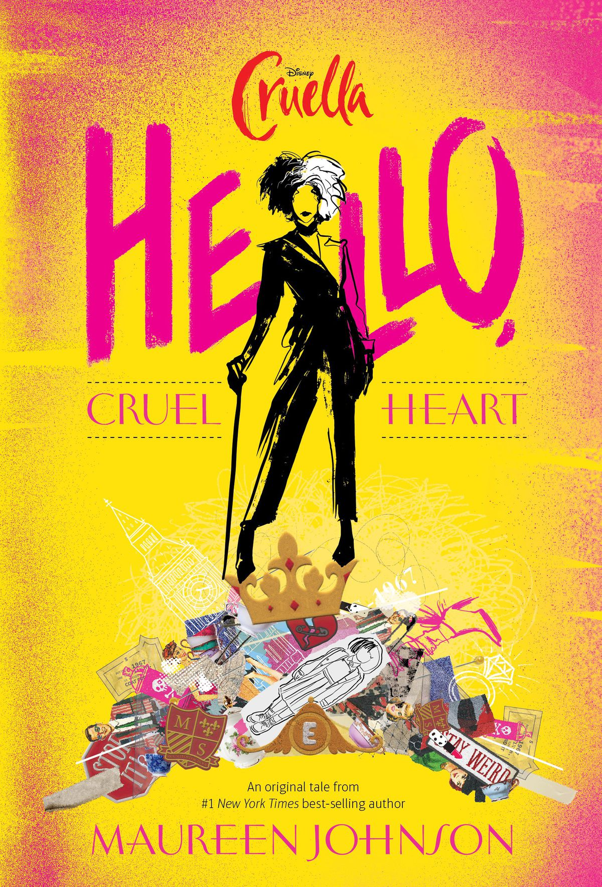 the cover of Hello, Cruel Heart, featuring Cruella De Vil on a pile of clutter against a dramatic yellow background