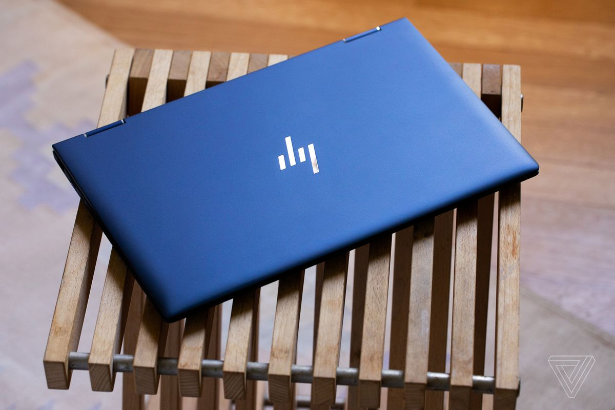 The HP Elite Dragonfly's lid from above.