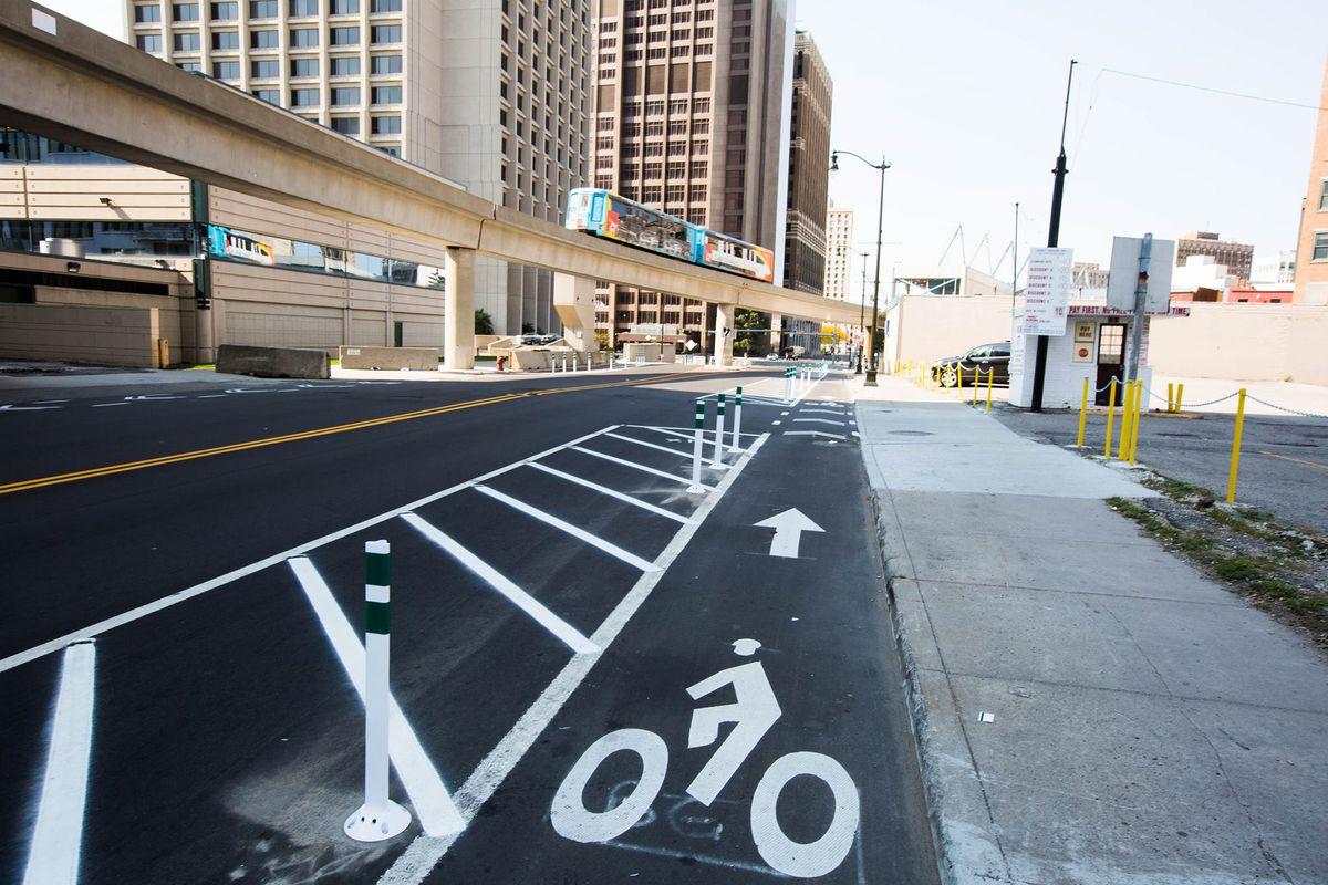 A bike lane in Detroit.