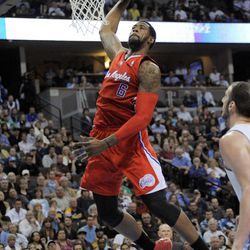 Los Angeles Clippers center DeAndre Jordan (6) dunks against the Denver Nuggets during the third quarter of an NBA basketball game on Wednesday, April 18, 2012, in Denver.