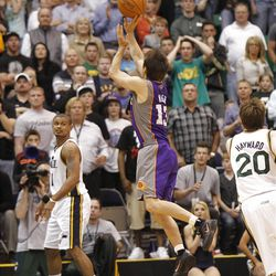 Sun's Steve Nash hits the winning basket with 1.7 seconds left as the Utah Jazz are defeated by the Phoenix Suns 107-105 as they play NBA basketball Wednesday, April 4, 2012, in Salt Lake City, Utah.