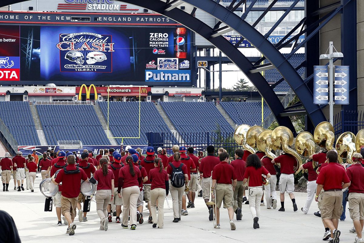 Oct 22, 2011; Foxborough, MA, USA; Members of the Massachusetts Minutemen band enter Gillette Stadium prior to a game against the New Hampshire Wildcats. Mandatory Credit: Mark L. Baer-US PRESSWIRE