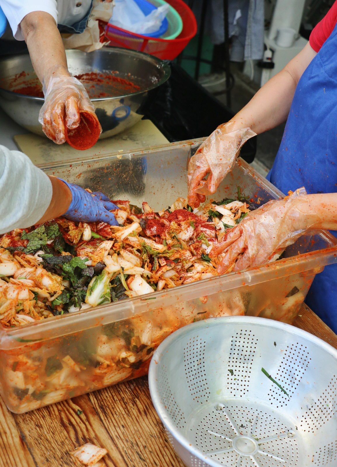 Gloved hands mix kimchi in a large plastic container
