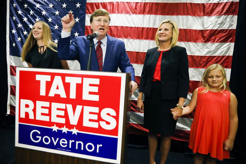 Lieutenant Governor Tate Reeves with his family at his victory party.