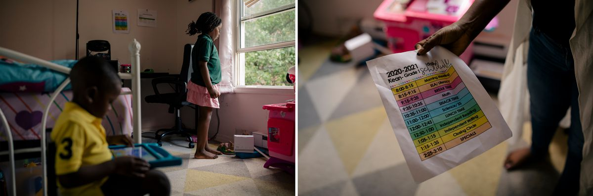 (Left) As Michael Dairo, left, entertains himself on a tablet computer, Roseville Community Charter School student, Abigail Dairo, right, takes a look out her bedroom window before resuming her remote class session at her home in Newark, New Jersey. (Right) Oyefunmilola Dairo, holds the remote school day schedule of her daughter, Abigail.
