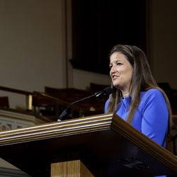 Liz Darger, BYU associate athletic director and member of the Young Women general board, speaks at an LDS Business College Devotional in the Assembly Hall at Temple Square on Tuesday, June 18, 2019.