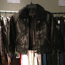 Yigal Azrouel Leather and Fur Jacket, $125