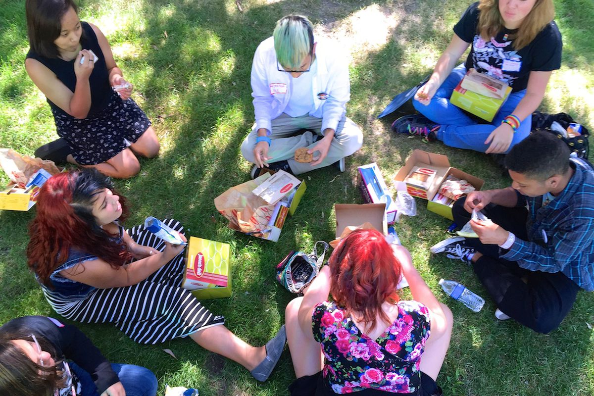 Students from Aurora's Rangeview High School ate lunch during a break at a weekend gathering of lesbian, gay, bisexual, transgender, and straight youth. The annual event hosted by LGBT advocacy organization One Colorado focused on student leadership.