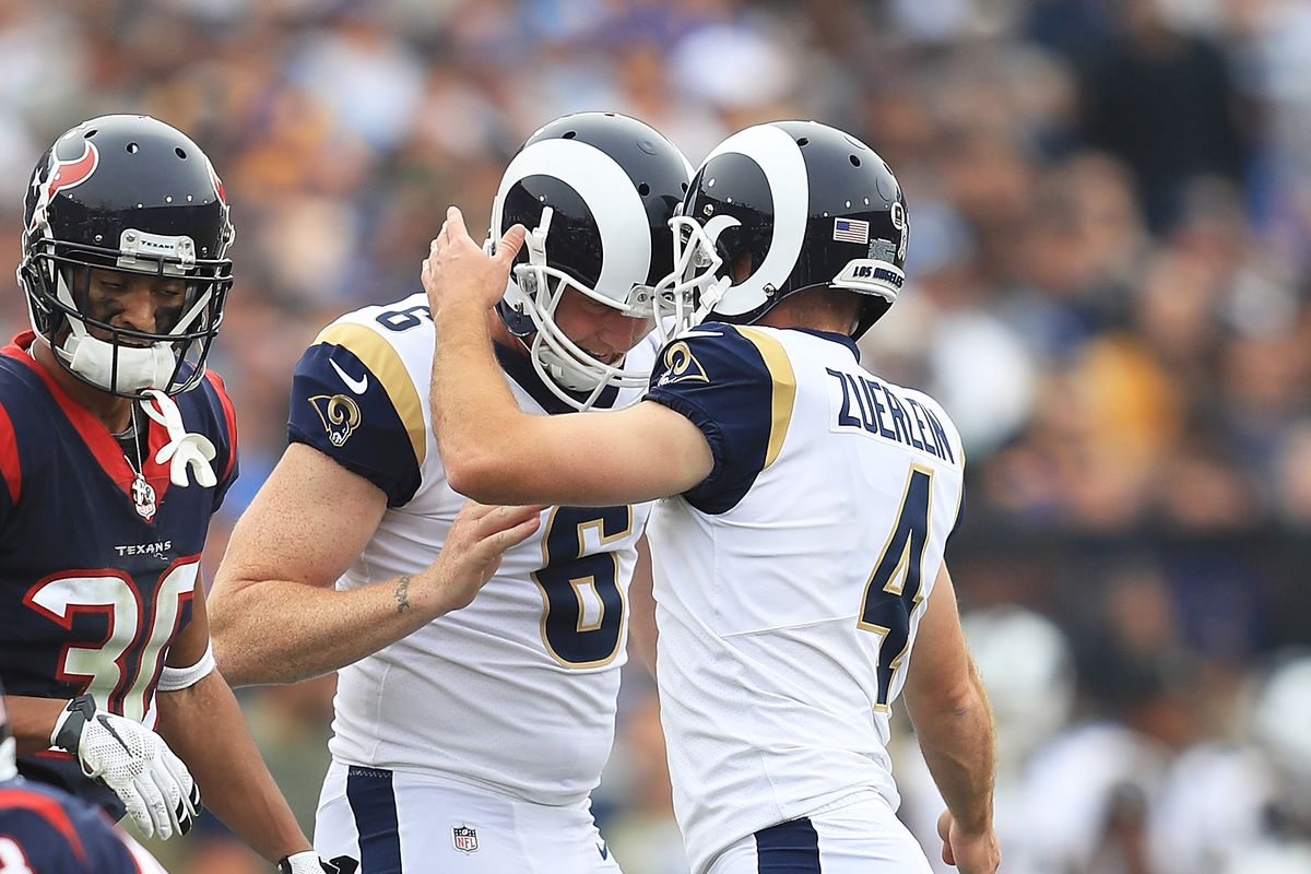 Los Angeles Rams K Greg Zuerlein and P Johnny Hekker celebrate after scoring a field goal against the Houston Texans in Week 10, November 12, 2017.