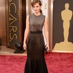 Emma Watson wore metallic Vera Wang on the red carpet, found at Saks Fifth Avenue at Fashion Show.