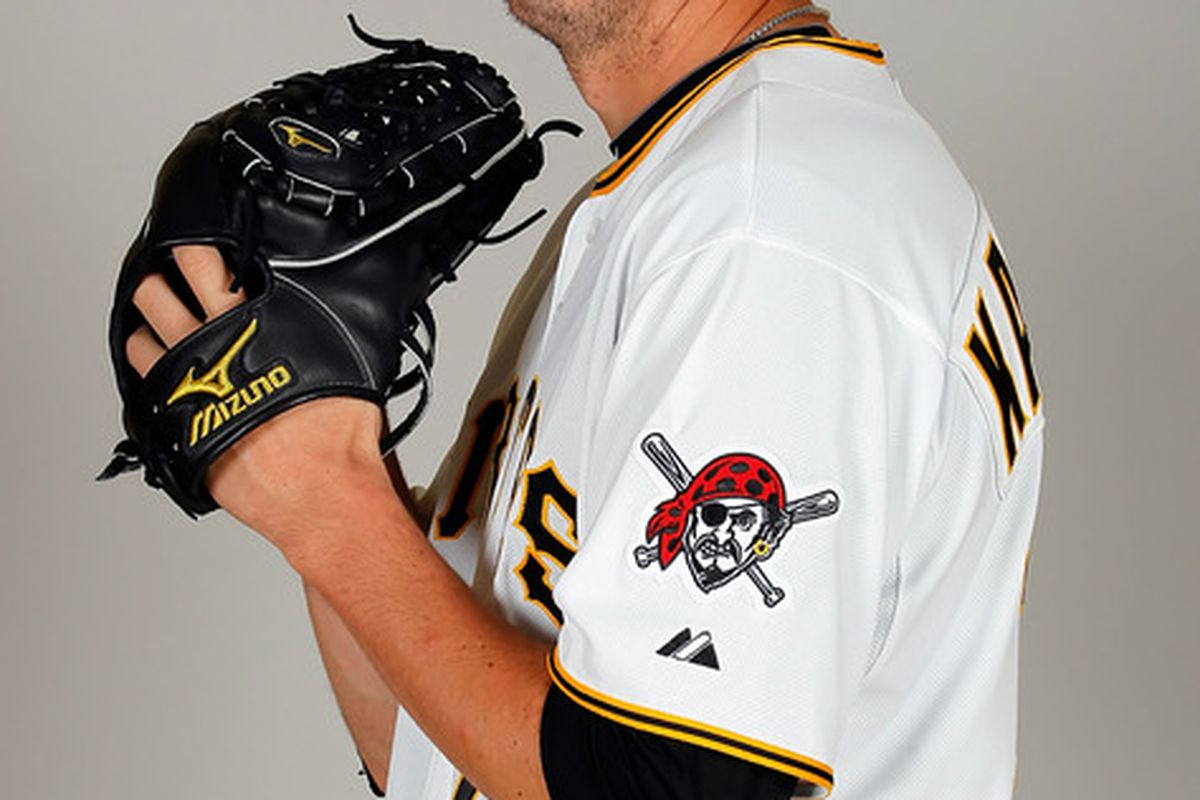 BRADENTON FL - FEBRUARY 20:  Pitcher Jeff Karstens #27 of the Pittsburgh Pirates poses for a photo during photo day at Pirate City on February 20 2011 in Bradenton Florida.  (Photo by J. Meric/Getty Images)
