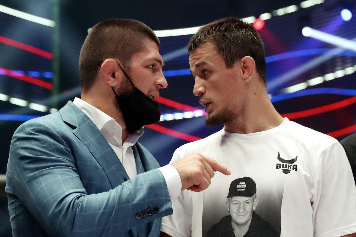 Russian MMA fighters, UFC Lightweight Champion Khabib Nurmagomedov and Usman Nurmagomedov at Abdulmanap Nurmagomedov Memory Tournament