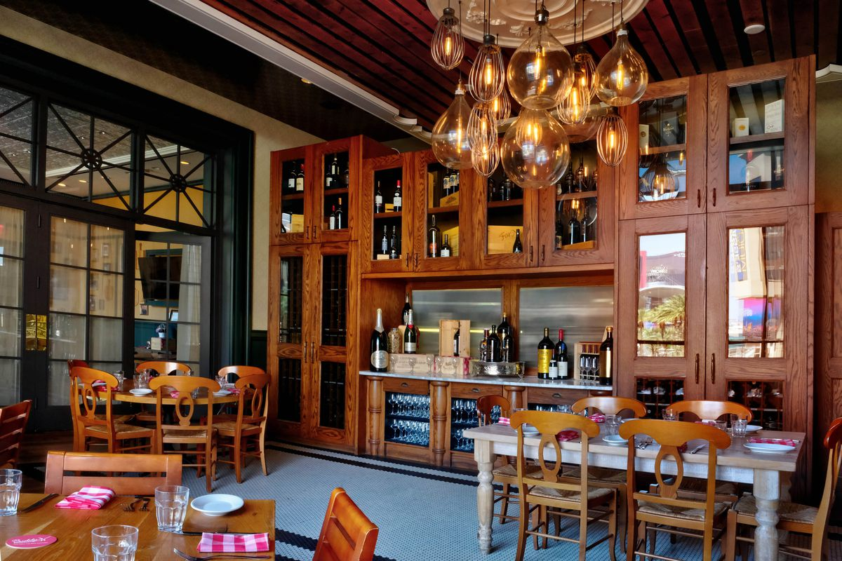 The wine case in the private dining room