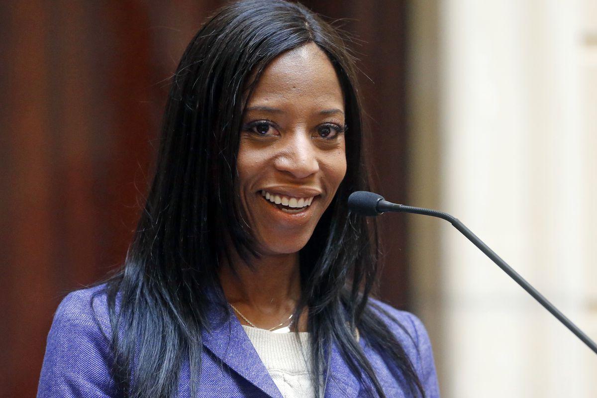FILE - Rep. Mia Love, R-Utah, speaks on the Senate Floor, Thursday, Feb. 22, 2018, at the Utah State Capitol, in Salt Lake City.
