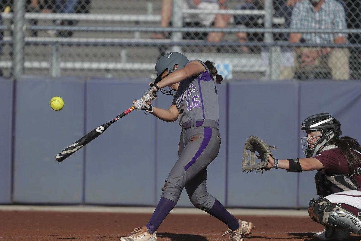 Chloe Camarero hits one deep against Montana. WSU defeated Montana 2-1 Saturday afternoon in eight innings, thanks to Camarero's walk-off home run.