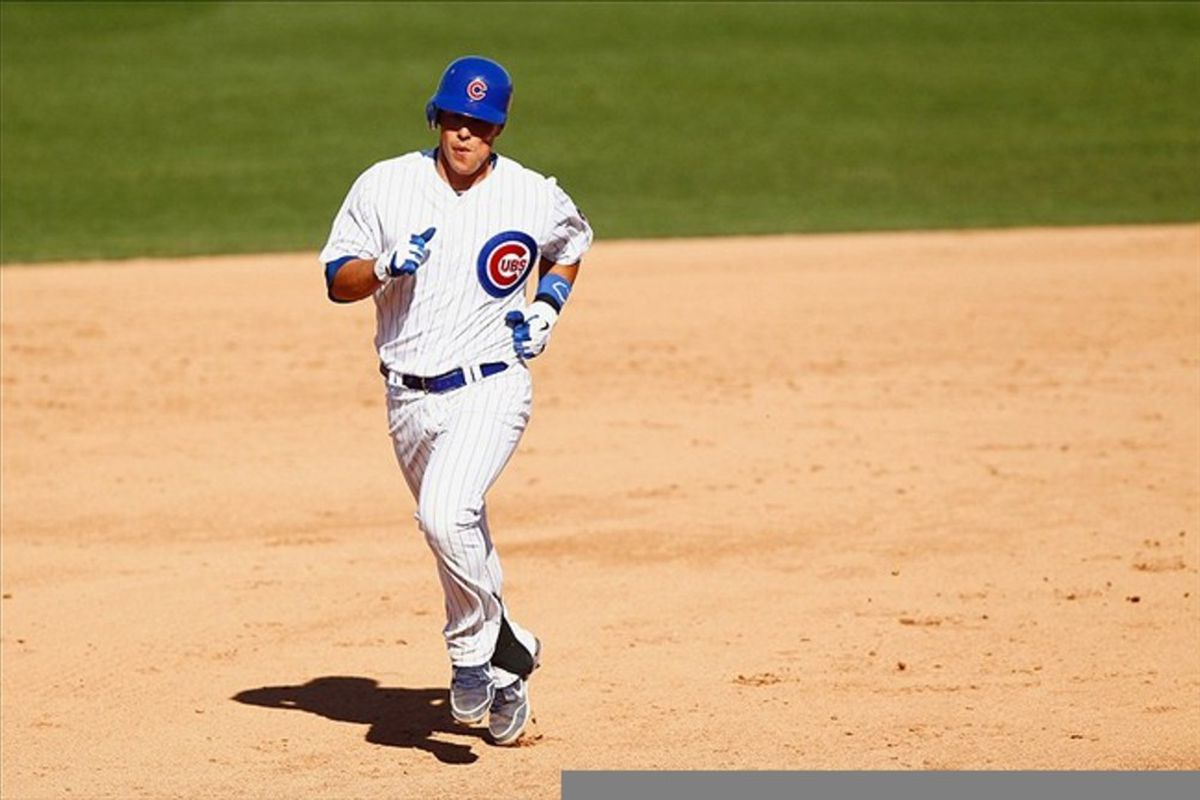Mar. 12, 2012; Mesa, AZ, USA; Chicago Cubs catcher Blake Lalli (47) rounds the bases after hitting a solo homerun during the eighth inning against the Cincinnati Reds at HoHoKam Park. Cubs won 8-6. Mandatory Credit: Debby Wong-US PRESSWIRE
