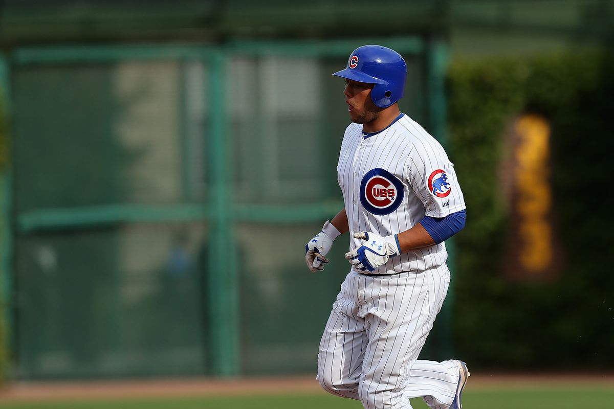 Welington Castillo of the Chicago Cubs runs the bases after hitting a solo home run against the Cincinnati Reds at Wrigley Field in Chicago, Illinois. The Reds defeated the Cubs 5-3. (Photo by Jonathan Daniel/Getty Images)