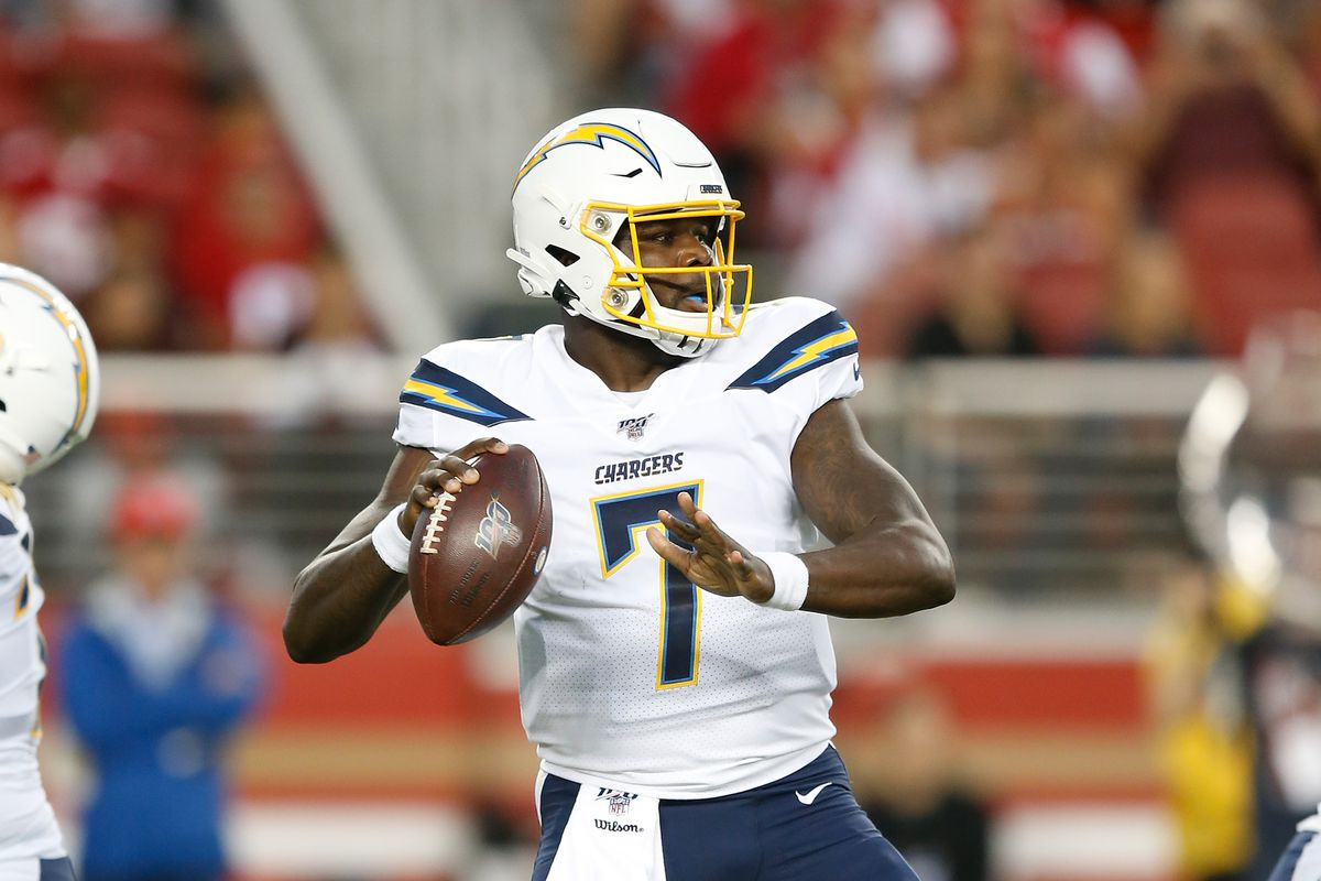 Quarterback Cardale Jones #7 of the Los Angeles Chargers looks to pass the ball against the San Francisco 49ers during the preseason game at Levi's Stadium on August 29, 2019 in Santa Clara, California.