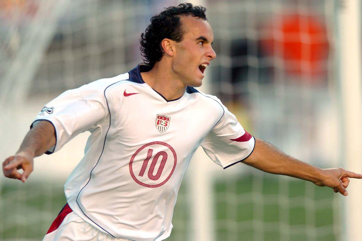 Landon Donovan celebrates after scoring against Costa Rica in Salt Lake City