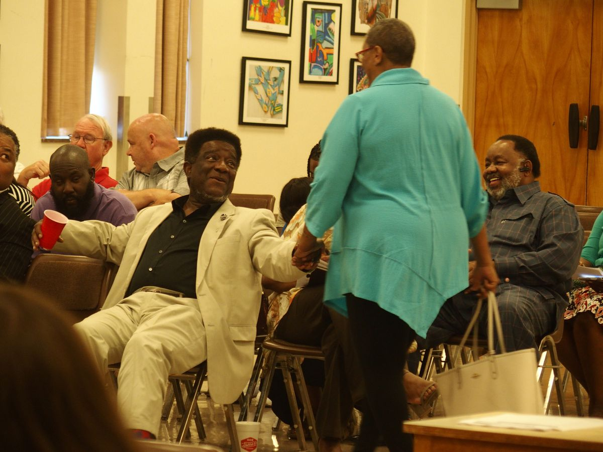 Memphis-Shelby County Education Association leader Keith Williams, seated in front.