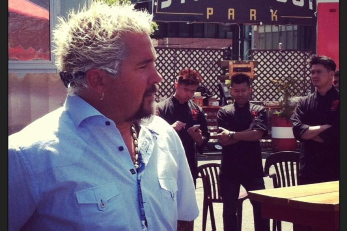 Fieri at SoMa StreatFood Park in San Francisco last year, still confused about how to wear sunglasses.