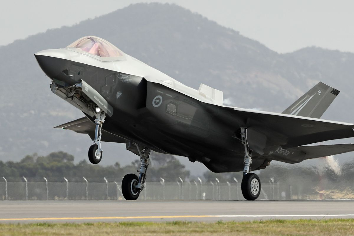 A Joint Strike Fighter (JSF) F-35 lands during the Avalon Airshow on March 3, 2017 in Avalon, Australia. Chinese intelligence reportedly penetrated US computer networks to steal plans for the F-35.