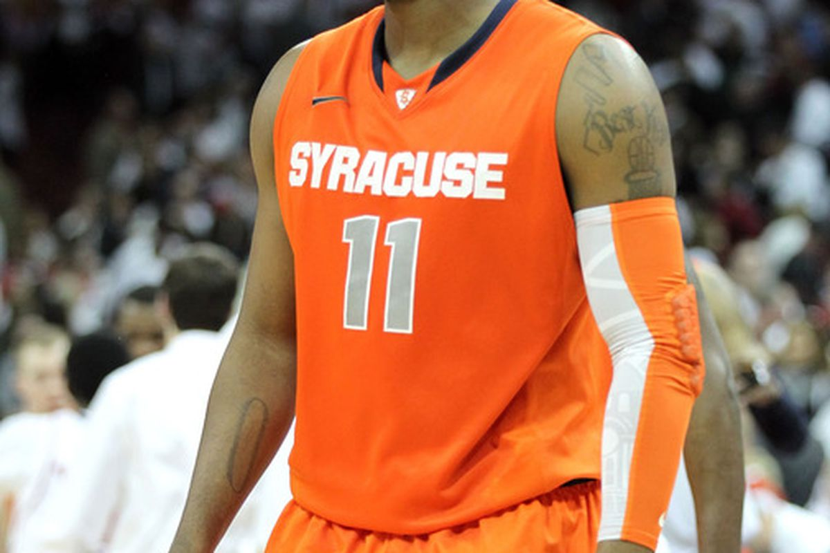 """Antonio """"Scoop"""" Jardine's college career might be finished, but smiles like this will keep him in the minds of Syracuse fans for a long time to come. (Photo by Andy Lyons/Getty Images)"""
