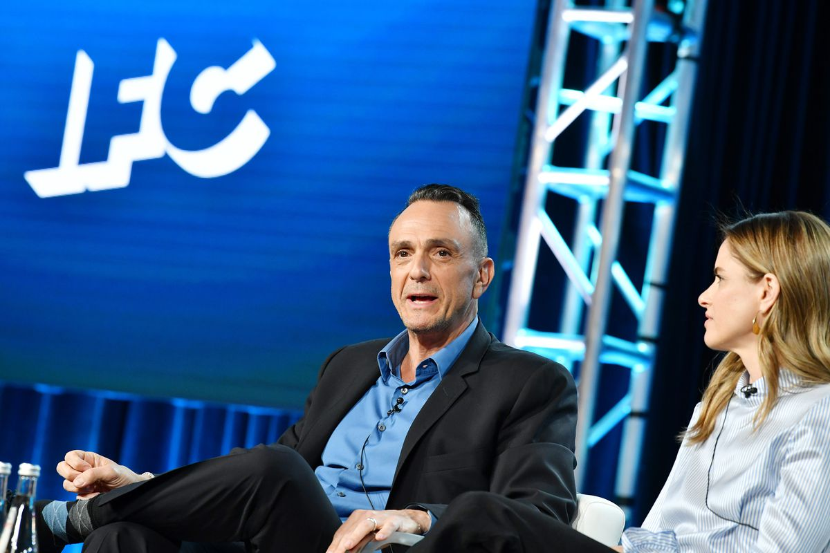 Hank Azaria speaking at the 2020 Winter TCA Tour.