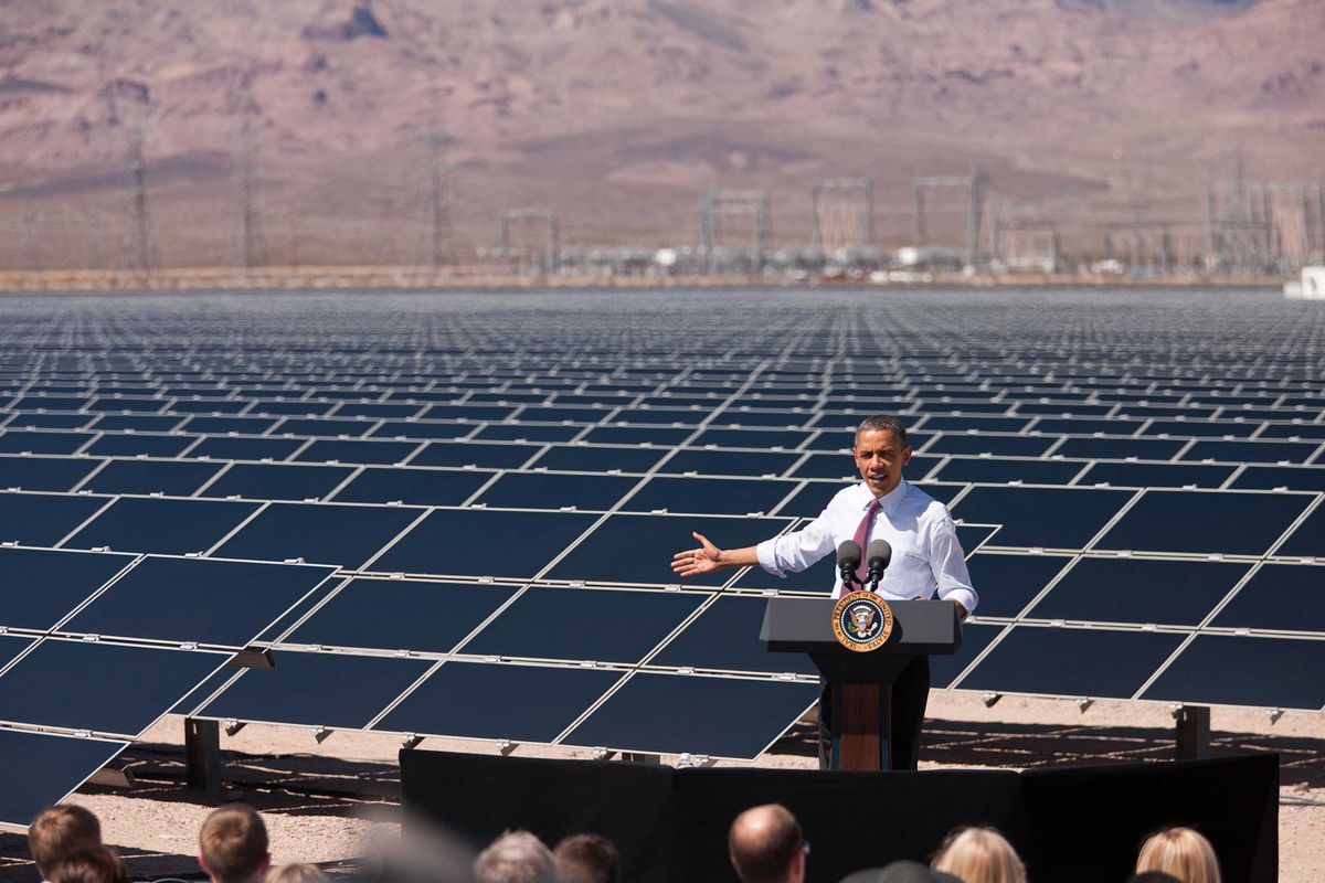 Obama, gesticulating at the Copper Mountain Solar 1 Facility in Boulder City, Nevada.
