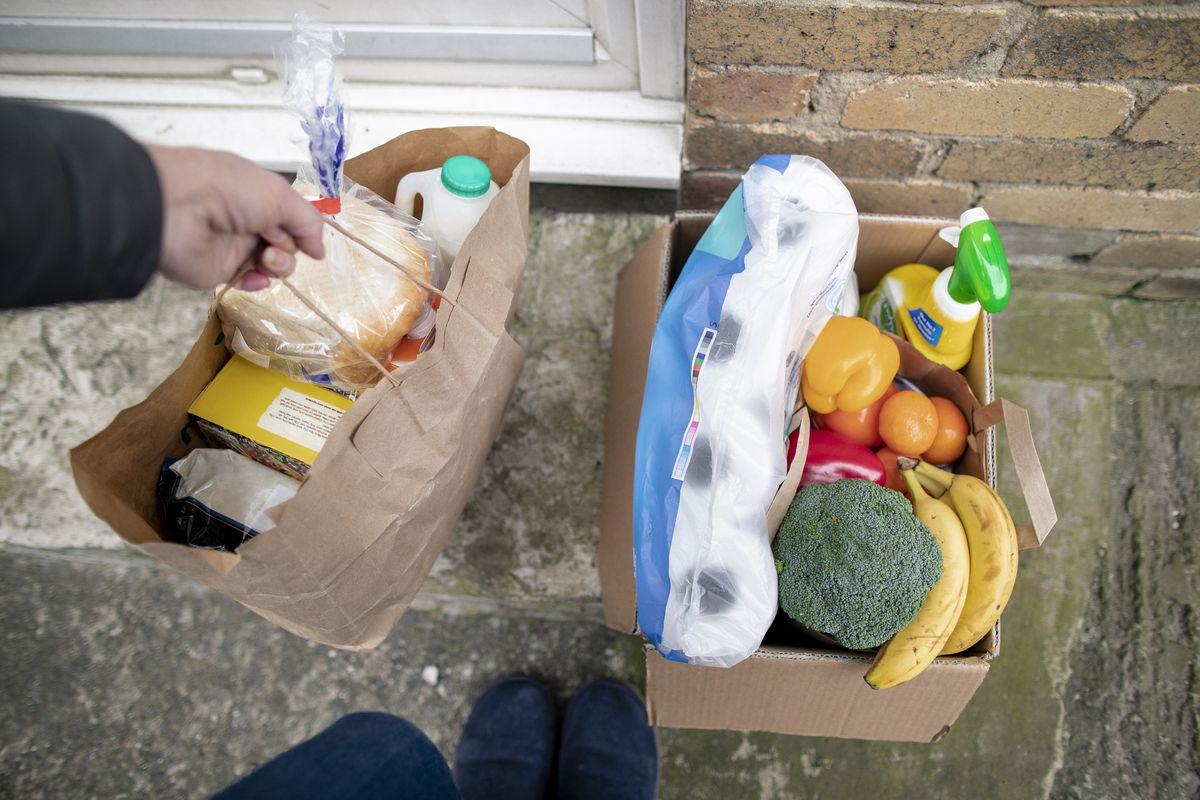 Bags of groceries.