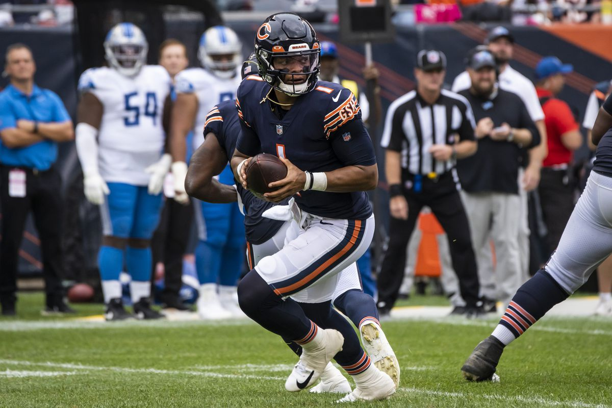 Bears quarterback Justin Fields looks to throw the ball during the second quarter against the Detroit Lions at Soldier Field on Sunday.