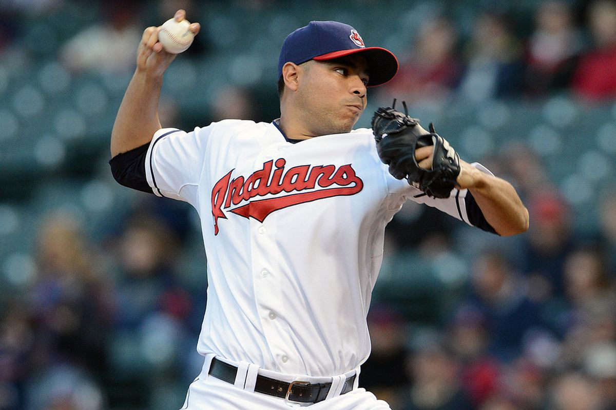 CLEVELAND, OH - MAY 9: Starting pitcher Jeanmar Gomez #58 of the Cleveland Indians pitches during the first inning against the Chicago White Sox at Progressive Field on May 9, 2012 in Cleveland, Ohio. (Photo by Jason Miller/Getty Images)