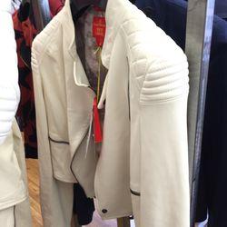 White leather jacket, $184 (was $1,845)