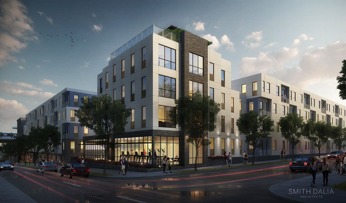 A rendering shows what appears to be ground-floor fitness facilities beneath apartments.