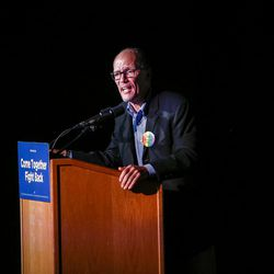 """Democratic National Committee Chairman Tom Perez speaks during the """"Come Together and Fight Back"""" tour at the Rail Event Center in Salt Lake City on Friday, April 21, 2017. About 3,000 people attended the event."""