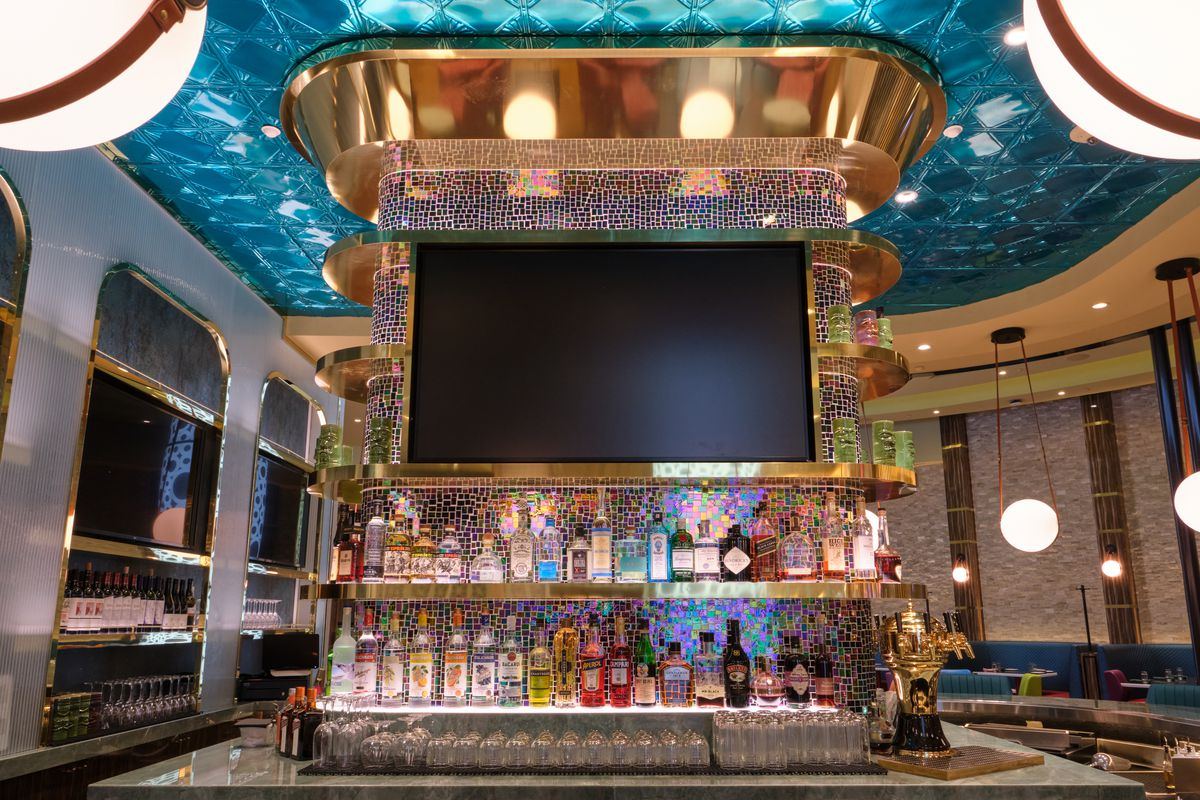 Liquor behind a blue bar