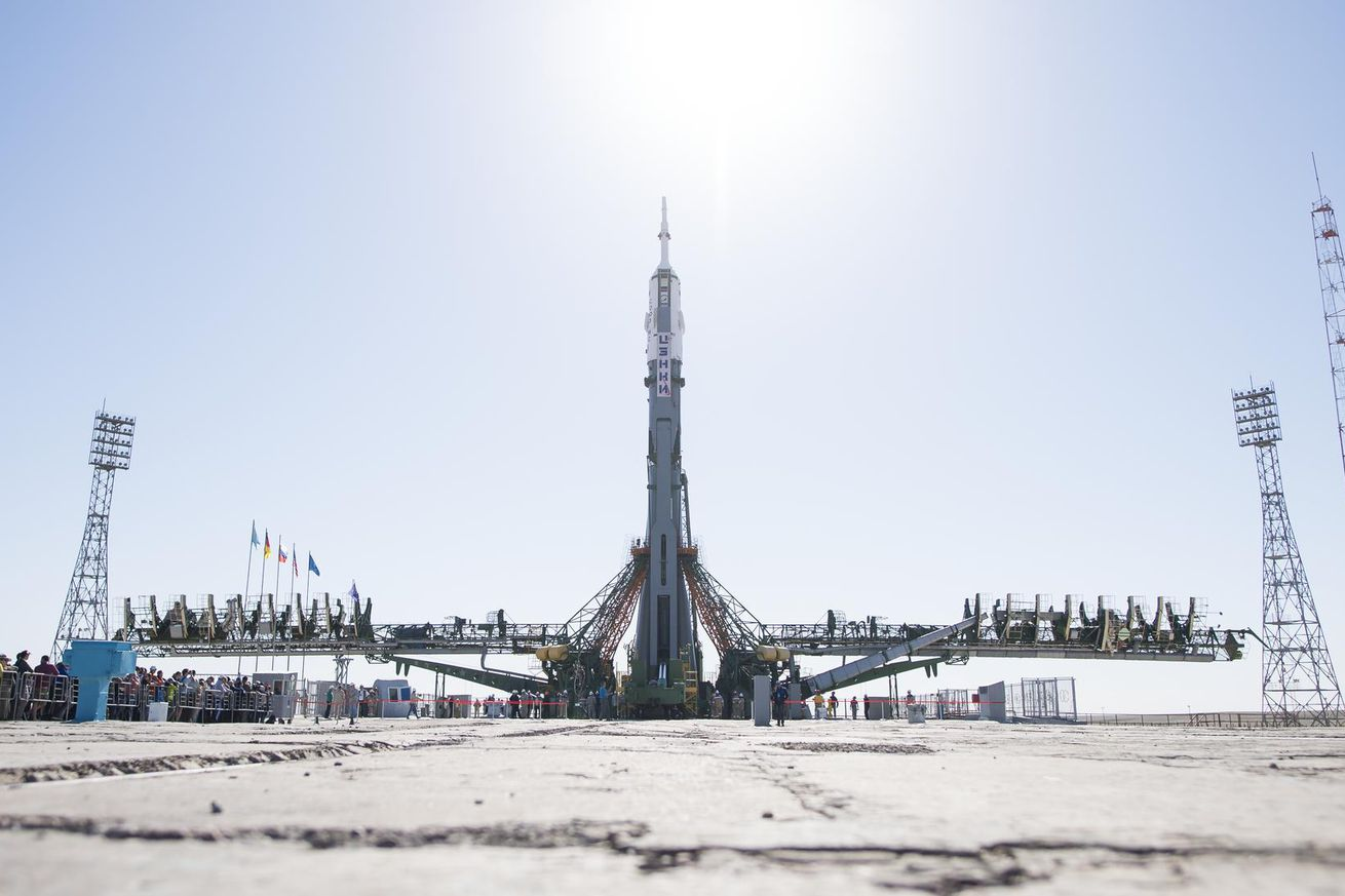 <em>A Soyuz FG rocket before its launch in June</em>