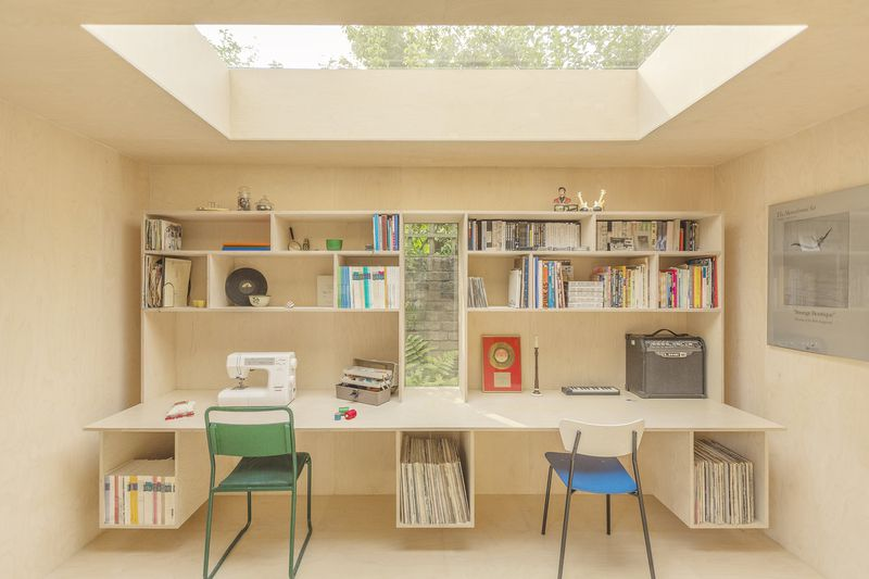 cool house building design. The one room building was artfully placed in the rear of back garden  Its exterior is covered cork panels a material that not only provides Tiny backyard office makes perfect escape Curbed