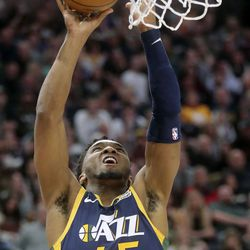 Utah Jazz guard Donovan Mitchell (45) shoots during an NBA game against the Phoenix Suns at the Vivint Smart Home Arena in Salt Lake City on Monday, Feb. 24, 2020.