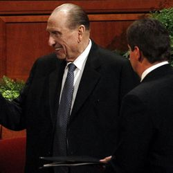 President Thomas S. Monson arrives for the afternoon session of the 182nd Annual General Conference for The Church of Jesus Christ of Latter-day Saints at the LDS Conference Center in Salt Lake City on Saturday, March 31, 2012.