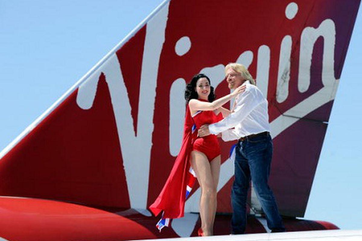 Richard Branson and Dita Von Teese, via Getty