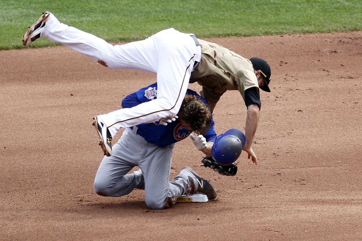 Neil Walker of the Pittsburgh Pirates collides with Joe Mather of the Chicago Cubs after turning a double play at PNC Park in Pittsburgh, Pennsylvania.  (Photo by Justin K. Aller/Getty Images)