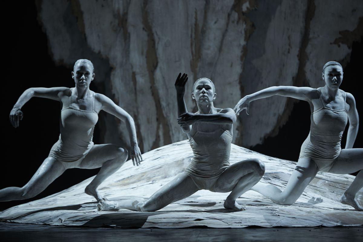 "Bangarra Dance Theatre's Tara Robertson, Tara Gower and Jasmin Sheppard in ""Ochres.""  (photo by Zan Wimberley"