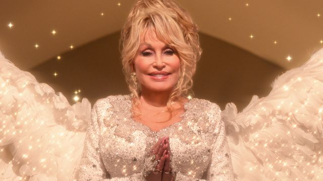 Dolly Parton as a rhinestone-covered angel in Christmas on the Square