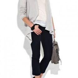J Brand's navy Gigi cropped flare jeans, styled with Louboutins