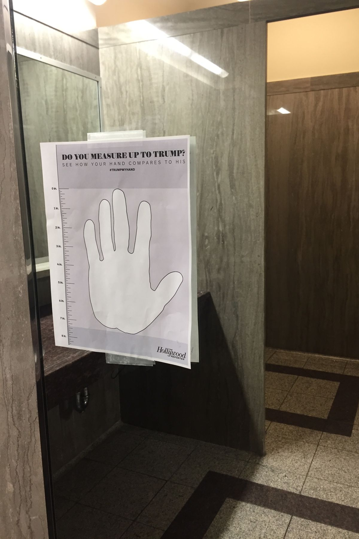 The Hollywood Reporter's Donald Trump hand size comparison sheet