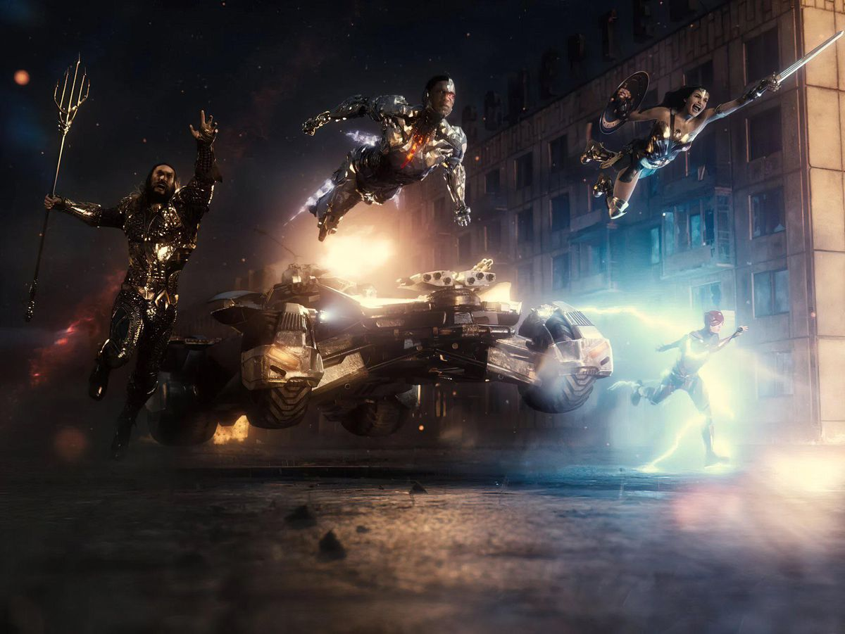 The Justice League flying in formation