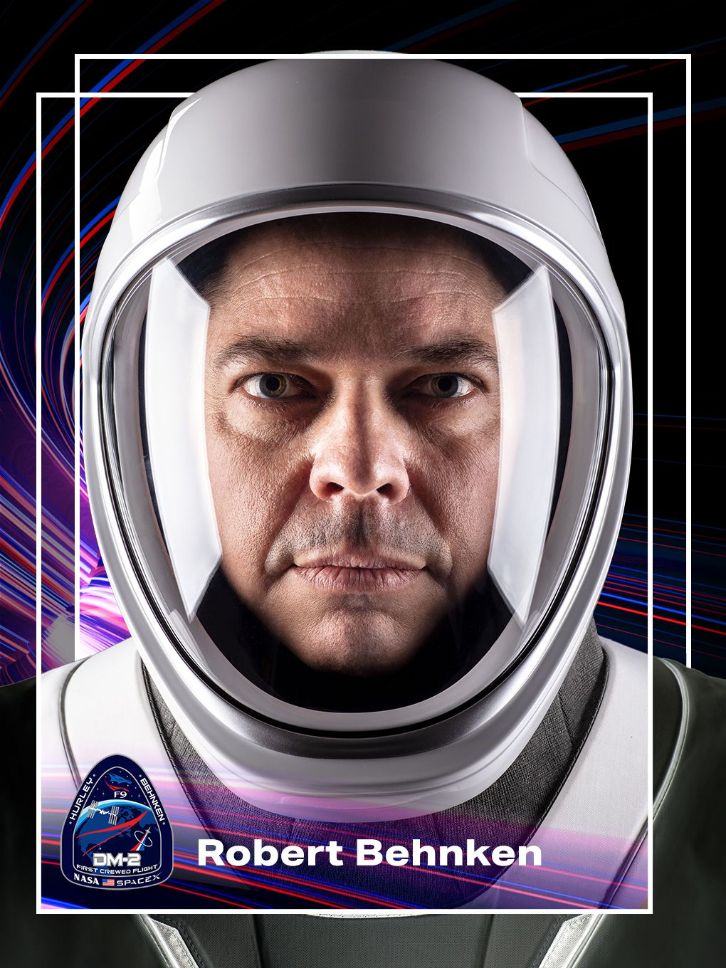 A graphic of astronaut Robert Behnken made to look like the front of a trading card