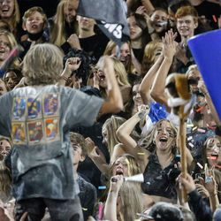 Stansbury fans cheer during a high school football game against Tooeleat Stansbury High School in Stansbury Park on Friday, Sept. 17, 2021.