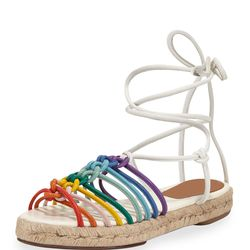 Right now, designer shoes at Bergdorf Goodman are up to 50% off, so we scoped out the department store for cute, summery — and, most importantly, walkable — styles, like these Chloé Jamie rainbow leather lace-up sandals in multi